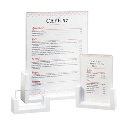 "Cal-Mil 1510-32-15 Tabletop Menu Card Holder - 3.5"" X 2"", Bamboo, White"