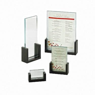 "Cal-Mil 1510-32-96 Tabletop Menu Card Holder - 2"" X 3.5"", Acrylic/Midnight Bamboo"