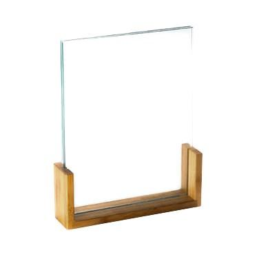 "Cal-Mil 1510-811-60 Tabletop Menu Card Holder - 8.5"" X 11"", Acrylic/Bamboo"