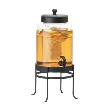 Cal-Mil 1580-2-13 2 Gallon Black Soho Glass Beverage Dispenser with Ice Chamber