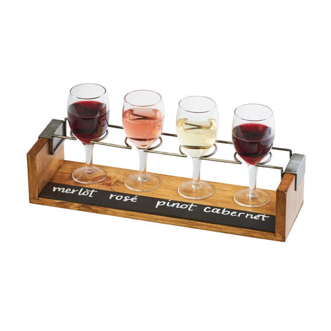 Cal-Mil 22010-99 4-Hole Wine Glass Taster Flight with Chalkboard Front