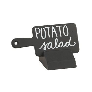 "Cal-Mil 3345-13 Black Write-On Paddle Sign with Stand - 4.5"" X 2"""