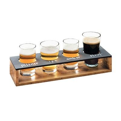"Cal-Mil 3480-99 Write-On Taster Caddy with (4) Cut-Outs - 13"" X 4"", Reclaimed Wood"