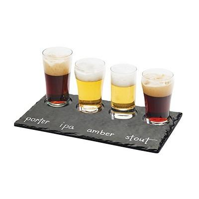 "Cal-Mil 3500-65M Write-On Taster Tray with (4) Cut-Outs - 11.75"" X 5"", Melamine, Faux Slate"