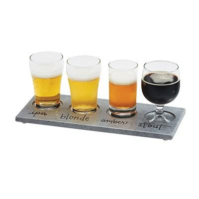 "Cal-Mil 3500-77 Write-On Taster Tray with (4) Cut-Outs - 11.75"" X 5"", Melamine, Faux Cement"