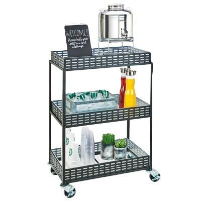 Cal-Mil 3583-13 3-Shelf Iron Beverage Cart, Black