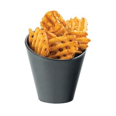 "Cal-Mil 3600-65M 4.25"" Round French Fry Holder - Melamine, Black Faux Slate"
