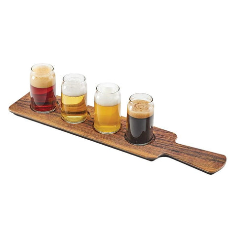 "Cal-Mil 3625-47M Beer Flight Board with (4) Cut-Outs - 18"" X 4"", Melamine, Hickory"