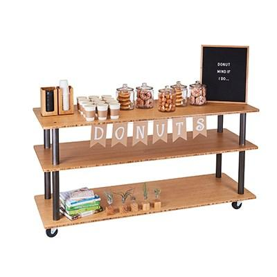 Cal-Mil 3698-4-60 Bamboo 3-Shelf U-Build Service Cart, Bronze