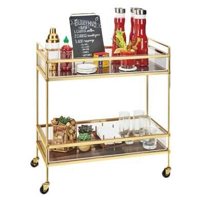 Cal-Mil 3719-46 Mid-Century Brass Beverage Cart with 2 Walnut Shelves