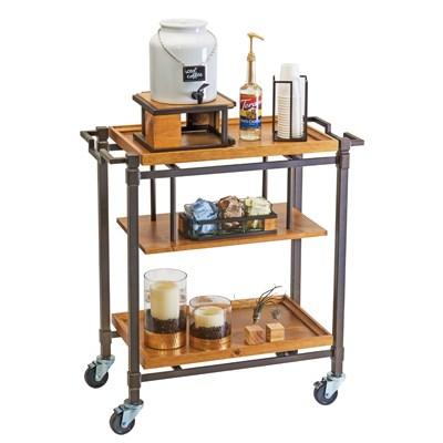 Cal-Mil 3913-84 Sierra Mobile Beverage Cart with (3) Shelves, Bronze
