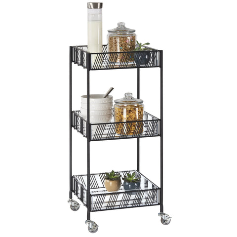 "Cal-Mil 4111-13 Portland Merchandiser Cart - (3) 15"" X 14"" Shelves, Metal, Black"