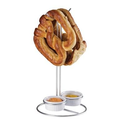 "Cal-Mil 4202 6.13"" Wire Double Pretzel Holder with 2 Ramekins"