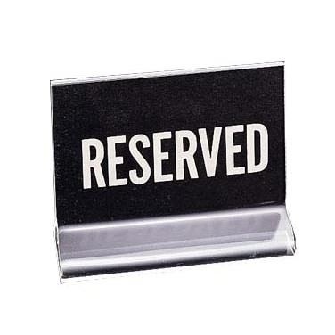 "Cal-Mil 500 ""Reserved"" Tabletop Menu Card Holder - 4.5"" X 3.5"", Acrylic, Clear"