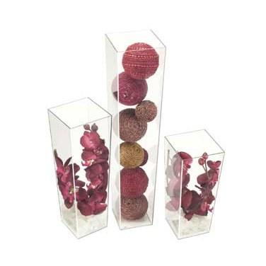 "Cal-Mil 879-16 5"" X 16"" Square Clear Acrylic Accent Display Vase"