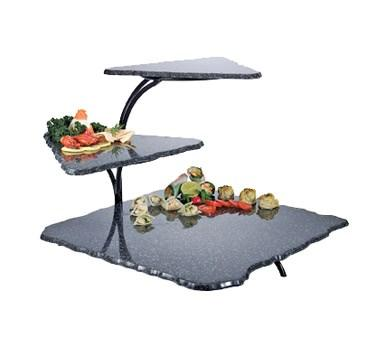 "Cal-Mil SS800-31 3 Tier Gourmet Faux Stone Serving Display - 20x30x18"", Acrylic, Black"