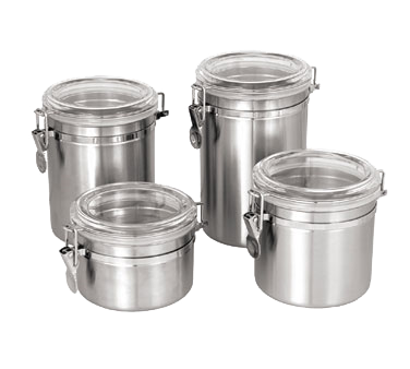 "Crown Brands CAN-7AC Update International™ - Storage Canister, 50 oz., 5-1/8"" dia., 6-1/2""H, stainless steel with plastic lid"