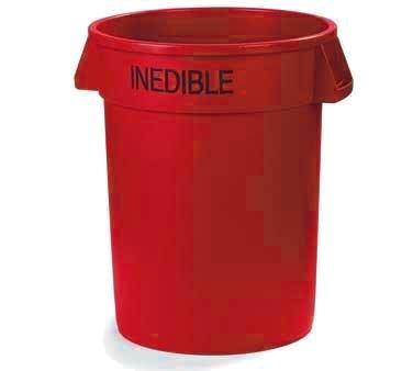 "Carlisle 341020INE05 Bronco 20 Gallon Red Round ""INEDIBLE"" Plastic Trash Can"