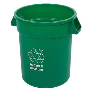 "Carlisle 341020REC09 Bronco 20 Gallon Green Round ""RECYCLE"" Plastic Trash Can"