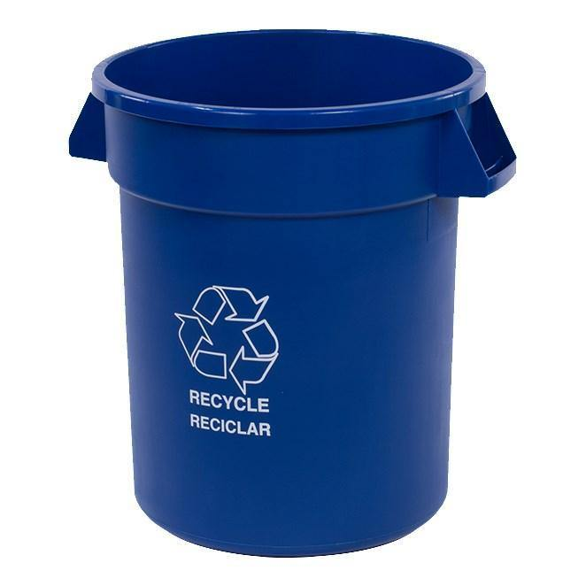 "Carlisle 341020REC14 Bronco 20 Gallon Blue Round ""RECYCLE"" Plastic Trash Can"