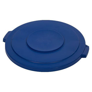 Carlisle 34103314 Bronco 32 Gallon Round Plastic Trash Can Lid, Blue