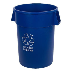 Carlisle 341044REC14 Bronco 44 Gallon Round No-Lid Recycling Trash Can, Blue