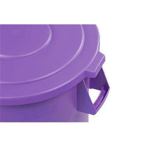 Carlisle 34105689 Bronco 55 Gallon Round Plastic Trash Can Lid, Purple