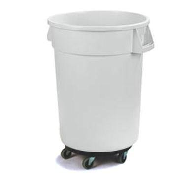 Carlisle 34113202 Bronco 32 Gallon Round Plastic Trash Can with Dolly, White