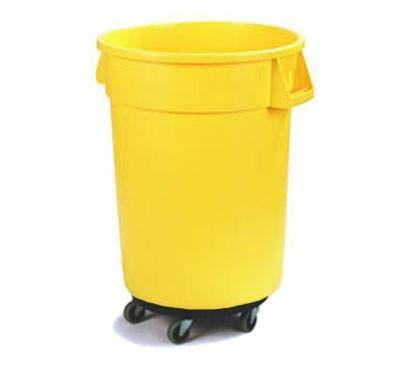Carlisle 34113204 Bronco 32 Gallon Round Plastic Trash Can with Dolly, Yellow