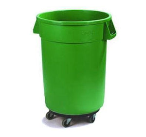 Carlisle 34113209 Bronco 32 Gallon Round Plastic Trash Can with Dolly, Green