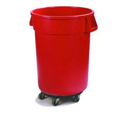Carlisle 34114405 Bronco 44 Gallon Round Plastic Trash Can with Dolly, Red