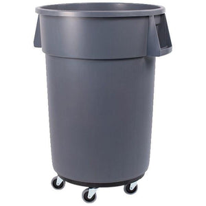 Carlisle 34114423 Bronco 44 Gallon Round Plastic Trash Can with Dolly, Gray