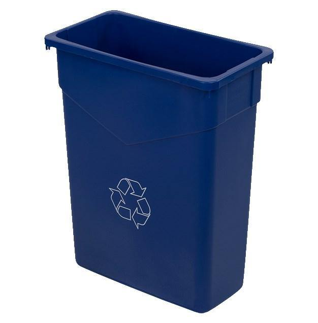 Carlisle 342015REC14 Trimline 15 Gallon Rectangular Recycle Bin, Plastic Blue