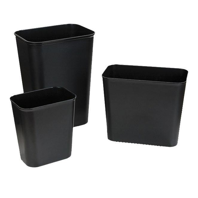 Carlisle 34291503 Wastebasket, 14 Qt., Rectangular, Rounded Corners, Black, UL