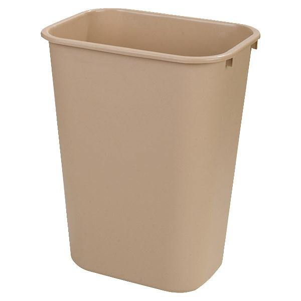 Carlisle 34294106 41-1/4 Qt Rectangle Waste Basket - Plastic, Beige