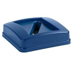 Carlisle 343526REC14 Centurian 23 Gallon Blue Square Recycling Bin Lid with Paper Slot