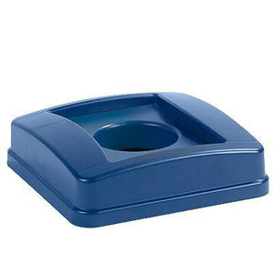 Carlisle 343527REC14 Centurian 23 Gallon Blue Square Recycling Bin Lid with Hole For Bottles / Cans