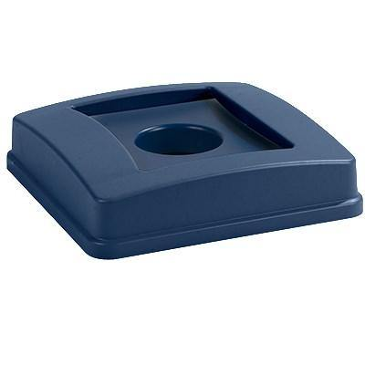 Carlisle 343936REC14 Centurian 35 Gallon Blue Square Recycling Bin Lid with Hole For Bottles / Cans