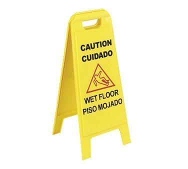 "Carlisle 3690000 Wet Floor Safety Sign - 11x25"" 2 Sided, Yellow"