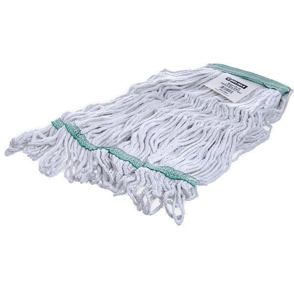 Carlisle 369419B00 Wet Mop Head - 4 Ply, Looped-End, Synthetic/Cotton Yarn, Green/White