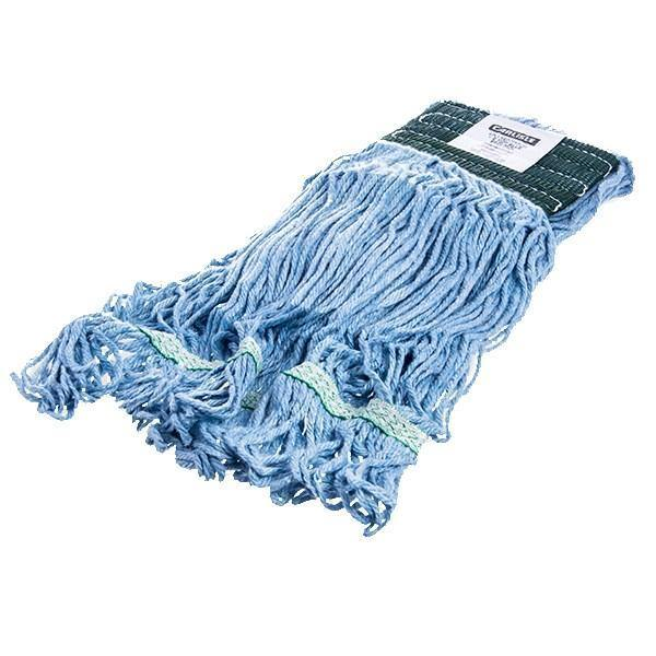 Carlisle 369448B14 Wet Mop Head - 4 Ply, Synthetic/Cotton Yarn, Green/Blue