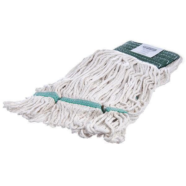 Carlisle 369551B00 Wet Mop Head - 4 Ply, Synthetic/Cotton Yarn, White/Green