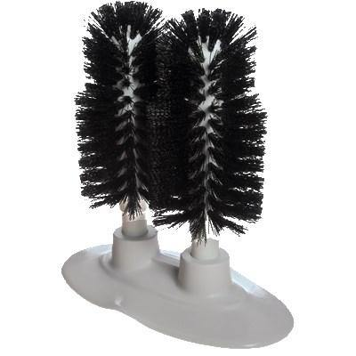 "Carlisle 4046203 6"" Glass Washer, Double Head Brushes - Polyester/Plastic, Black"