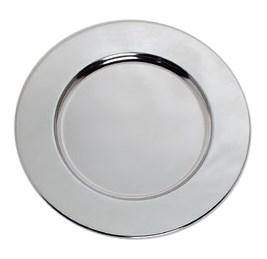 "Carlisle 608924 12-1/4"" Round Charger Plate with Wide Rim, Chrome"