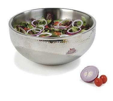 Carlisle 609203 5.75 Qt. Stainless Steel Hammered Dual Angle Insulated Bowl