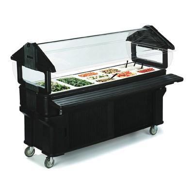 Carlisle 661108 Portable Food Bar - (5) Full-Size Pan Capacity, Sneeze Guard, Forest Green