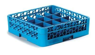 Carlisle RC20-114 Opticlean Glass Rack with (20) Compartments - (1) Extender, Blue