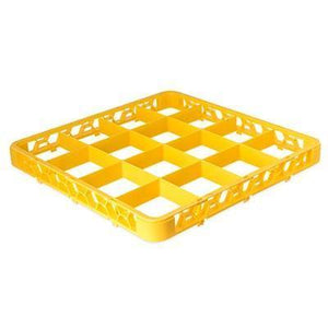 Carlisle RE16C04 Opticlean 16 Compartments Yellow Color-Coded Glass Rack Extender