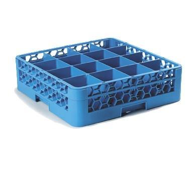 Carlisle RG16-114 Opticlean 16 Compartments Blue Glass Rack with 1 Extender