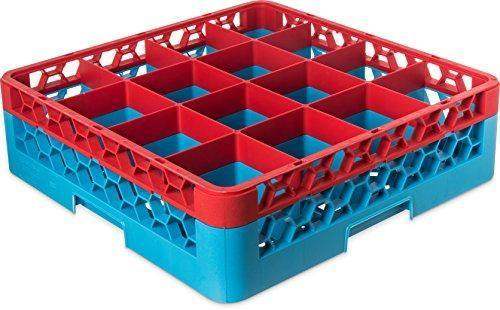 Carlisle RG16-1C410 Opticlean 16 Compartments Red Color-Coded Glass Rack with 1 Extender